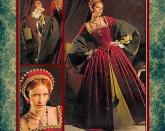 TUDOR QUEEN-Historical Costume Pattern-Square Neckline-Boned Bodice-Cartridge Pleats-Underskirt-French Headpiece -Uncut-Size 8-16-Rare