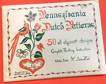 1940s Vintage Pennsylvania Dutch Painting Needlework Patterns and Borders by Jacob and Jane Zook Folk Hex Motifs Designs