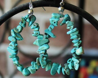 Turquoise Gemstones Dangle Drop Earrings