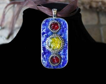 Mosaic Glass Pendant Necklace in Blue, Red, and Yellow Crushed Glass