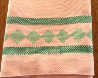 Vintage Swedish Weaving Peach Linen Towel, Green Embroidery, Huck Linen Towel