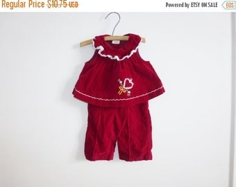 SALE // Vintage Velveteen Baby Outfit