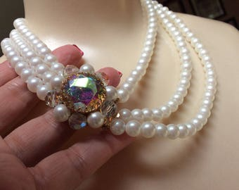 RESERVE Park Lane ornate crystal clasp 3 strand faux pearls, white faux pearls triple strand necklace, big aurora borealis crystals earrings