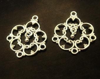 Sterling Silver Chandelier Earrings,  Bead Charm Drop, BRIGHT, 22x18mm, 1 pair