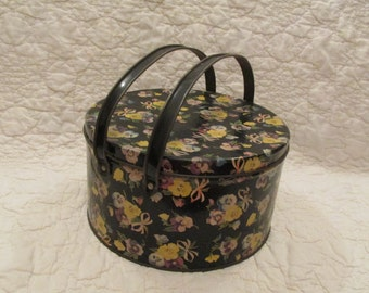 Vintage Floral Tin Lunch Pail Storage with handles and Cover SALE