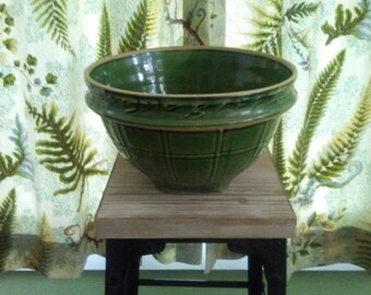 Large Antique MC Coy Yellow Ware Window Pane Green Glazed Mixing Bowl