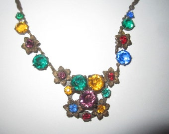Vintage 1920s Art Deco Colorful Czech Glass Faceted Necklace