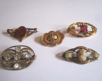 Antique Victorian Edwardian Brooch Lot of 5 Assorted Pins