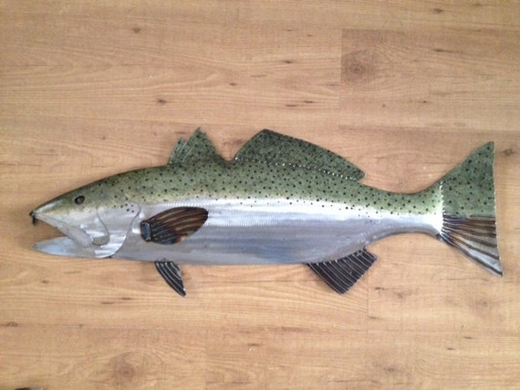 Speckled Sea Trout Handmade 34in Fish Sculpture  Tropical Beach Coastal Wall Art ocean