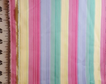 Sherbet Pink Yellow Green Lavender Multi Colors Stripe poly shirting weight over 3yd
