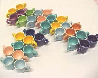 Tiny Tea Cups Collectors or Fairy Gardens Miniature Pottery Hand Turned Mini Mugs Choose Yellow, Peach, Sage, Pink, Baby Blue, Cobalt Blue