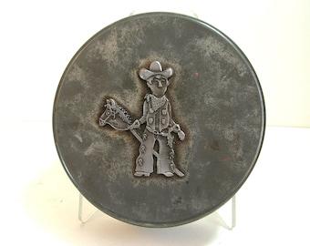 Metzke Pewter Decorated Cowboy Tin