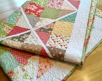 Quilt Fig Tree Strawberry Fields Nursery Bedding Baby Toddler Scrappy Patchwork Crib Cot Red Yellow Aqua piecesofpine