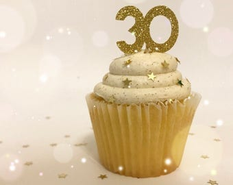 30th Birthday Cupcake Toppers| Birthday Cupcake Toppers| Thirty Cupcake Toppers| 30 Cupcake Toppers| Gold Glitter Toppers