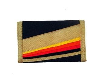 Velcro Wallet Vintage 1980s Rainbow Mini Tiny Tan Black Rainbow Small Keychain