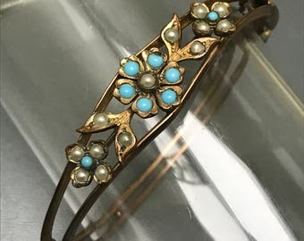 Antique Victorian bangle . Flower . Turquoise glass . Pearls  . Gold filled Jewelry