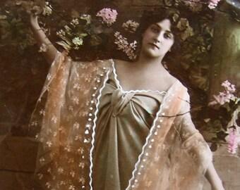 Antique Art Nouveau lady photo postcard, Antique flower girl photo postcard, Antique French girl photo postcard, Antique tinted postcard
