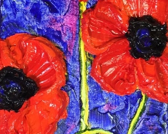 Red Poppies Tall 6x18 Original Impasto Oil Painting by Paris Wyatt Llanso