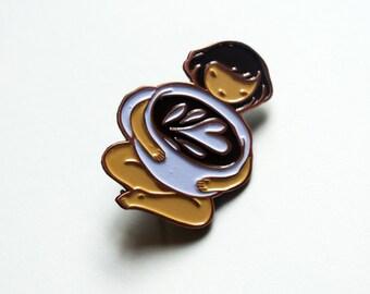 Coffee Girl enamel pin - ultra cute coffee lover pin