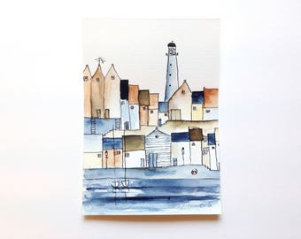 original watercolor painting of a harbor town