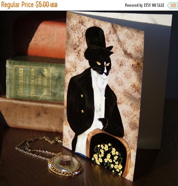 ON SALE Love Mr Darcy Cat Greeting Card 5x7, Tuxedo Cat Elegantly Dressed in Regency Clothes