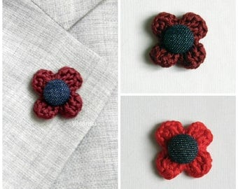Lapel flower. Flower boutonniere. Men lapel pin. Lapel stick pin. Red. Wine red.