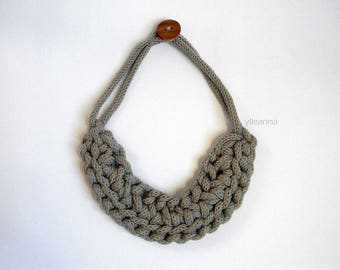 Bib necklace - Organic cotton necklace - Neutral colors - Braided necklace - Sand beige necklace - Statement necklace