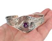 Amethyst Bracelet, Sterling Silver Cuff, Brutalist, Israel, Designer, Hagit Gorali, Studio Design, Handcrafted, Purple Stone, Faceted
