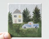 RESERVED FOR HEATHER little blue truck / original small painting