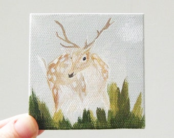 spotted deer / miniature, original small painting