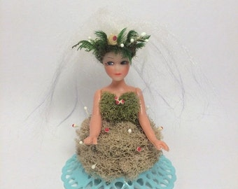 SALE Handmade Holiday Forest Nymph Ornament Mushrooms Dried Moss One of a Kind