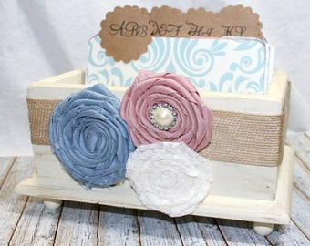 GUEST Book Box / Advice Box /Dusty Blue and Dusty Pink Wedding / Shabby Chic Guest Book / Light Blue and Blush / Dusty Rose Guest Book