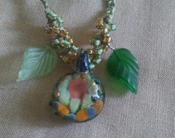 Fairy Garden Glass Pendant Hemp Necklace