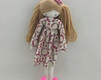 Handmade rag doll , Beth- ooak cloth art rag doll bflower dress and socks toy for girls