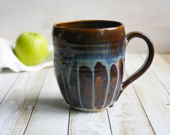 Large Stoneware Mug with Soft Dripping Blues and Brown Earthy Glazes 14 Oz. Handmade Stoneware Coffee Cup Made in USA Ready to Ship