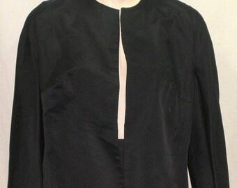 CHRISTMAS SALE Vintage 1950's - 1960's Silk Satin Career Tuxedo Style Formal Skirt Suit Jacket Medium Black Elegant