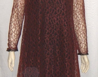 SWEETHEART SALE Vintage 1960's Retro Mod Dress Small Lace Overlay