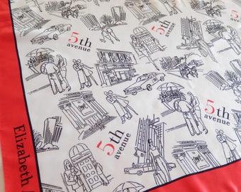 vintage Elizabeth Arden scarf, New York, 5th Avenue, fashion, vintage accessory, white black red scarf