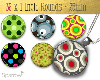 Funky Dots Patterns - 1 Inch (25 mm) Round Pendant Colalge Images - Digital sheet - Buy 2 Get 1 Free - Digital Download - Automatic Download
