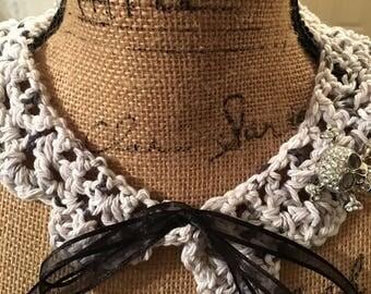 Crochet Skullduggery Vintage Collar Necklace