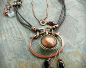 Tibetan Coin Pendant with Leather and Gemstones
