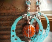 Southwest Turquoise Patina Hoops with Tangerine Suns