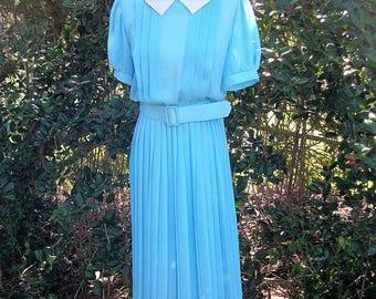 ON SALE 80s Sheer Blue Pleated dress size Small Medium Robins Egg Blue Secretary Dress Contrast Collar