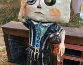 Folk Art Paper Mache doll Mr.Cheese head freak show doll.SALE!