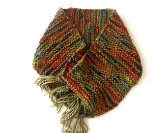 Moss Tweed Tassel Cowl, Neck Warmer or Hood
