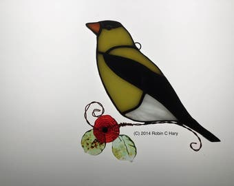 Goldfinch Suncatcher in Stained Glass