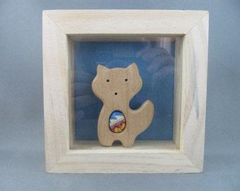 SOLD Fox in a Box Shelf Sitter Ornament