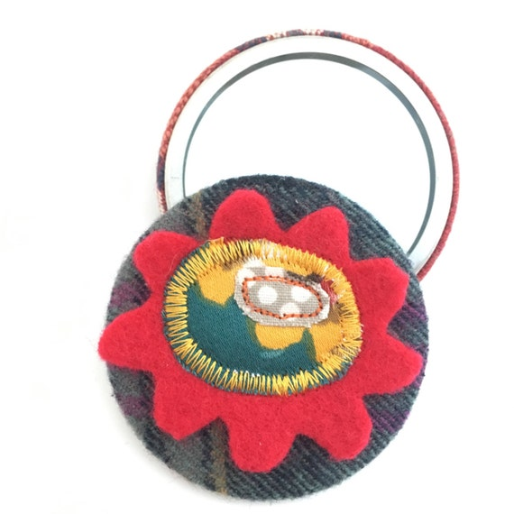 Red flower pocket mirror with scottish fabric