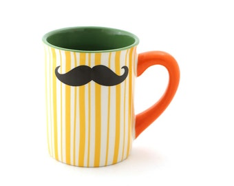 Mustache Mug, Moustache Mug, Yellow orange green, Double Sided, Kiln Fired, gift for him, mens gift