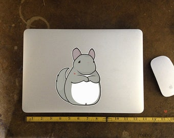 Chin Up Chinchilla - Large Vinyl Laptop Sticker